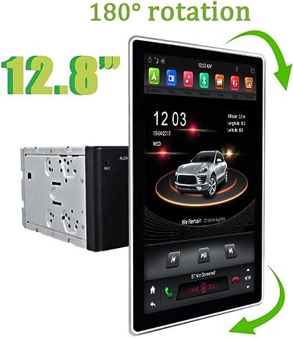 12.8 pulgadas 2 Din Universal Tesla Style Car Stereo Radio con pantalla giratoria Navegación GPS 4G RAM 32G ROM Bluetooth Wifi CarPlay Control del volante: Amazon.es: Electrónica