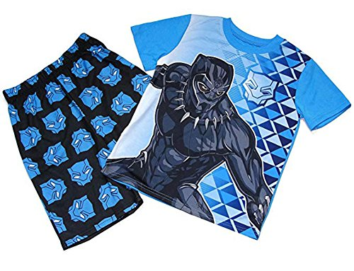 Boy's Super Hero Black Panther T'Challa Pajama Shorts Set (8)