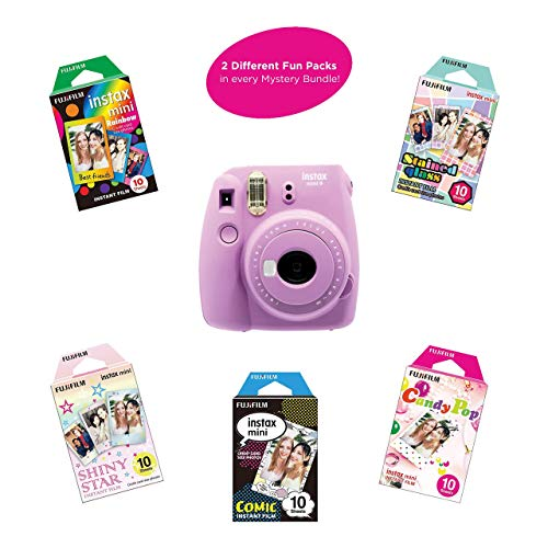 Fujifilm Instax Mini 9 Instant Camera | Includes 2 Rainbow Film Packs (20 Photo Sheets Total) | Auto Lens & Light Exposure Setting | (Smokey Purple) (Renewed)