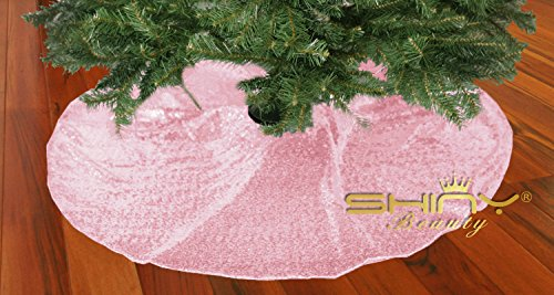 Pink-Sequin-Tree Skirt-48Inch Christmas Tree Shirt,Embroidered and Sequined Mesh Thanks Giving Holiday Decor (Pink) - Embroidered Christmas Tree Skirt