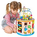 WloveTravel 8 in 1 Wooden Activity Cube Bead Maze Multi-purpose Educational Toys for Kids Baby Toddler Age 3 4 5 6 7 8 + Year Old Girls Boys (8 in 1)