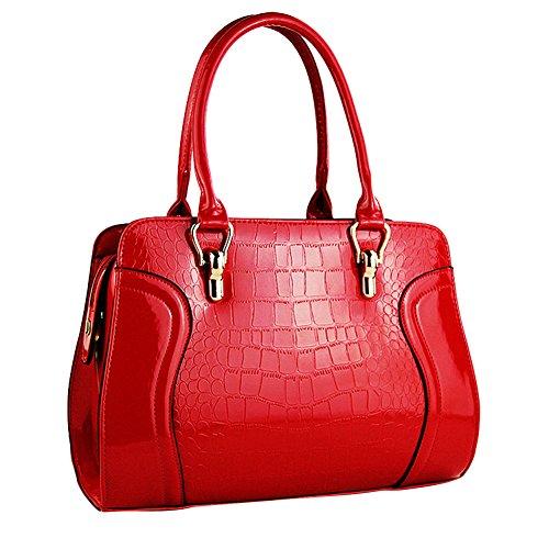 Épaule Cuir en Crocodile Haute Femmes Verni Qualité Messenger Pure Sac Couleur Rouge Grain IwEqXxXzT