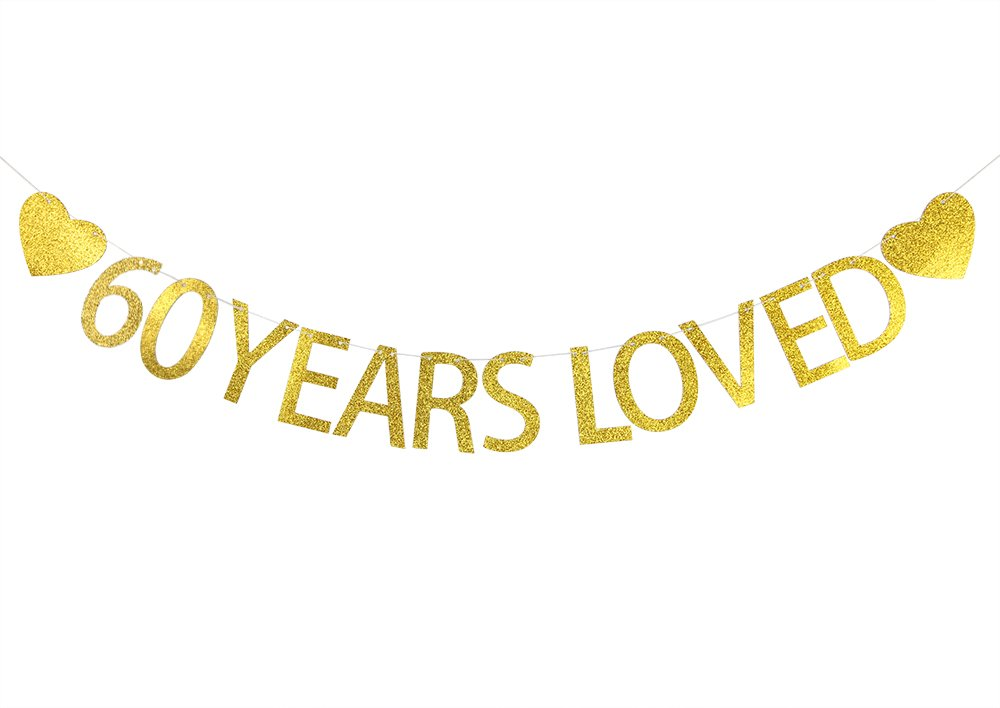 Lovely BITON Gold 60 Years Loved Letters Banner Decoration Kit Themed Party Banner for Birthday Wedding Showers Photo Props Window Decor