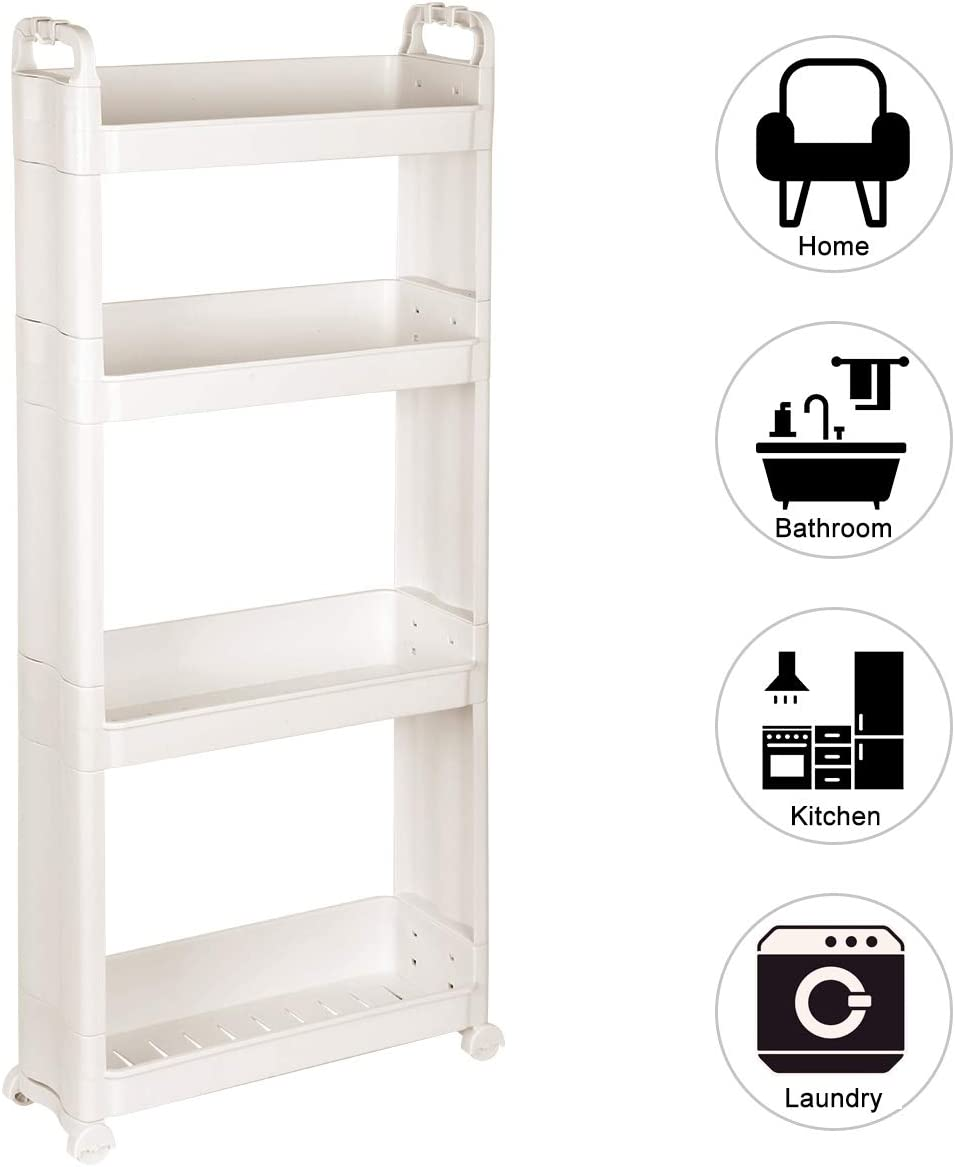 Livememory 4 Tier Slim Rolling Storage Cart with Wheel, Narrow Shelf Slide Out Storage Rack Shelves for Narrow Places- White Plastic