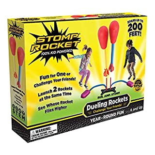 The Original Stomp Rocket Dueling Rockets, 4 Rockets and Rocket Launcher - Outdoor Rocket Toy Gift for Boys and Girls Ages 6 Years and Up - Great for Outdoor Play in Backyard and Parks with Friends