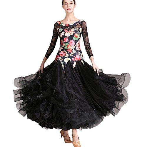 Da Swing Tango s Sala Costumi Vestito Grande Pizzo Donne Spettacolo Danza Outfit Valzer Di Xl Foxtrot Black Wqwlf Per Ballo ARxaEf
