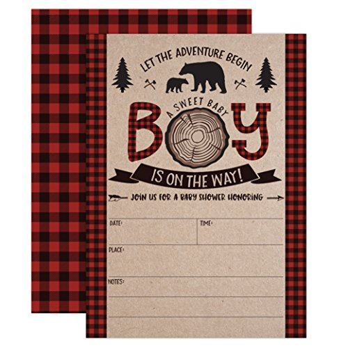 Lumberjack Baby Shower Invitations, Boy Baby Shower Invitations, Mama Bear Baby Shower Invites, Woodland Baby Shower Invitations, 20 Fill in Invitations and Envelopes -