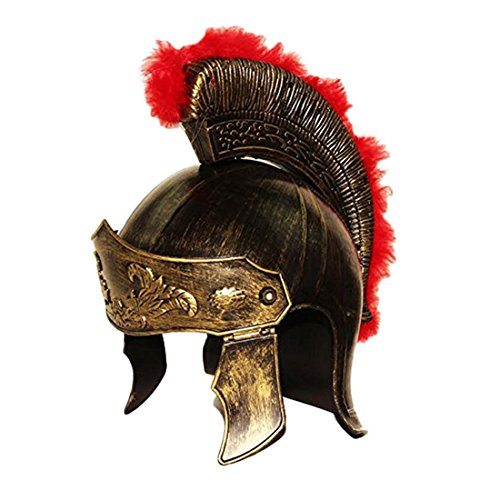 Realistic Roman Soldier Helmet - Gladiator Legion Gold Royal Hat Knight Costume.