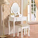 Makeup Vanity Table Set, Mecor Solid Wood Dressing Table Mirror with 3 Drawers,Bedroom Vanity Set Stool White