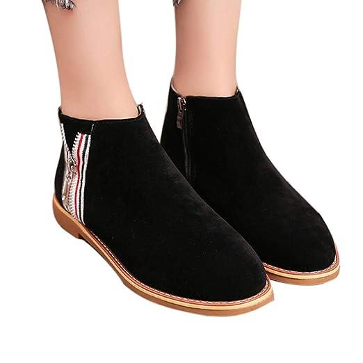 Amazon.com  Hemlock Women Flat Ankle Boots Teen Slip-On School Boots ... b39e2a32d