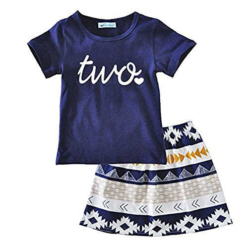Zooarts Childhood Baby Girls 2Pcs/set Two Print Short Sleeve T-shirt + Tribal Print Skirt Boutique Clothes Dress Rompers Kid Outfits (1T - 5T) (Print Short Sleeve Skirt)