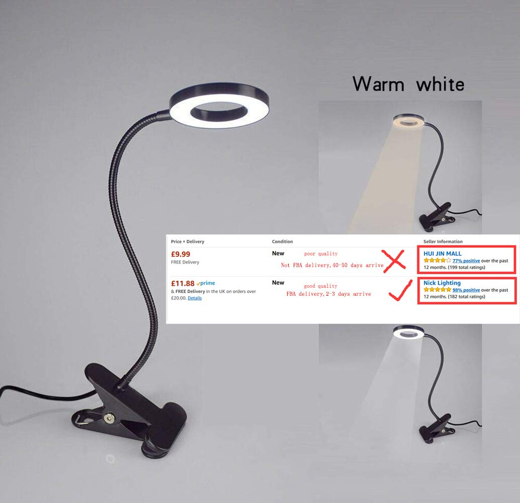 6W LED USB Clip on Light for Bed, Book Reading, Desk Lamp (Black) with Clamp, Eye Protection for Office, Study, Bedroom, Piano, Headboard. Warm/Cool Light Colour. [Energy Class A++] W-Lite