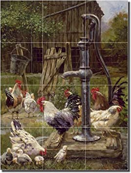 Ceramic Tile Mural Kitchen Backsplash Brown Rooster Country Life Art MBA020