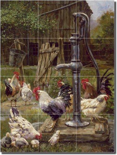 Rooster by Nenad Mirkovich - Country Farm Ceramic Tile Mural 24'' x 18'' Kitchen Shower Backsplash
