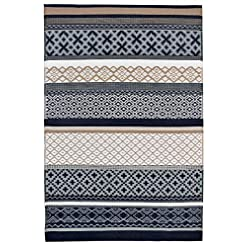 Garden and Outdoor Green Decore Prime Plastic Stain Proof Reversible Fade Resistant Premium Patio Outdoor Rug (Dark Blue Grey Taupe, 4×6) outdoor rugs