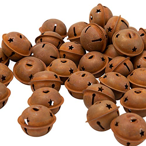 LUTER 44Pcs 40mm/1.57inch Rusty Jingle Bells Vintage Metal Bells with Star-Shape Cutouts for Christmas Holiday Home DIY Crafts Decoration (Bells Christmas Rustic)