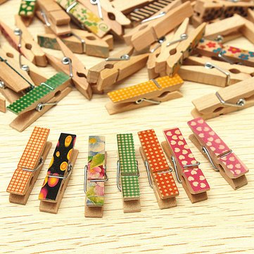 Novelty – 50 pcs Cute Painted Wooden Mini Craftペグ布フォト写真HangingスプリングクリップClothespin – Wooden Mini Craftペグ B078HCJJ45