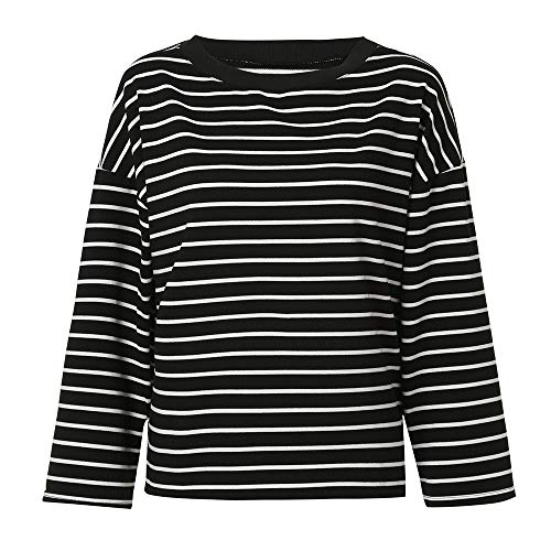 Tops Striped Neck Long Morwind Pullover Black O Women Sweatshirt Blouse Autumn Sleeve zYwOq7Hw