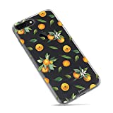 iPhone 7 Plus Case,iPhone 8 Plus Case,Orange Cute Funny Fruits Vacation Series Hipster Aloha Summer Tropical Hawaii Sweet Tangerines with Leaves Daisy Soft Transparent Case for iPhone 7plus/8plus