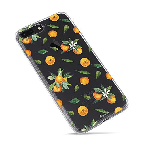 iPhone 8 Case,iPhone 7 Case,Orange Lemon Cute Funny Fruits Vacation Series Hipster Aloha Summer Tropical Hawaii Sweet Girls Tangerines with Leaves Daisy Soft Transparent Case for iPhone 7/iPhone 8