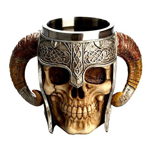 (LUOEM Halloween Skull Drinking Cup Coffee Mug Stainless Steel Resin 3D Skull Cup Tankard for Halloween Bar Party Horror Decor - Halloween)