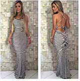 Women Stripe Sexy Strap Backless Summer Boho Maxi Long Evening Party Dress (Medium/Bust 36.0
