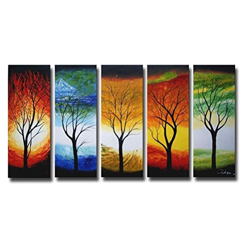 Living Room Wall Art 5 Pieces 100% Hand Painted Framed Colorful Season Tree of Life Oil Painting Modern Large Artwork Set for Home Bedroom Office Decor 32x60inch