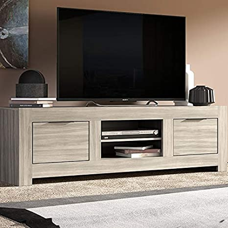 Mueble TV contemporáneo Color Roble Gris Sofia: Amazon.es: Hogar
