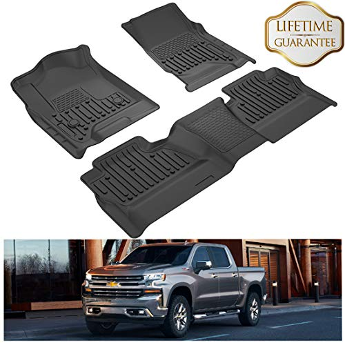 KIWI MASTER Floor Mats Liners Compatible for Chevrolet Silverado/GMC Sierra Crew Cab 2014-2019 1500/2500/3500 HD Front & 2nd Seat All Weather Protector Slush Liner Mat Black