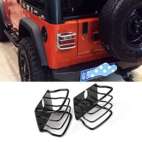 Highitem 2PCS Car Exterior Accessories iron Tail Light Cover Black For Jeep TJ Wrangler 1997-2006