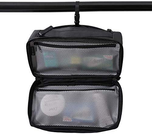 Purevave Compact Mens Toiletry Travel Bag Hanging, Mens Dopp Kit for Travel Waterproof, Wash Pouch Black