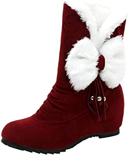 HhGold Cheville Neige Bottes Femmes Dames Hiver Chelsea en Daim Tan Chaussures Garder Au Chaud Gothique Chukka Armée Semelles Lacet Plat Plate-Forme (coloré : Rouge, Taille : 5.5 UK)