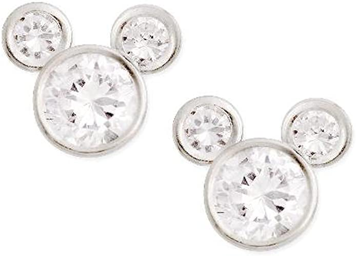 925 Sterling Silver Mickey Mouse Sparkle Stud Earrings with CZ Pouch /& Gift Wrap