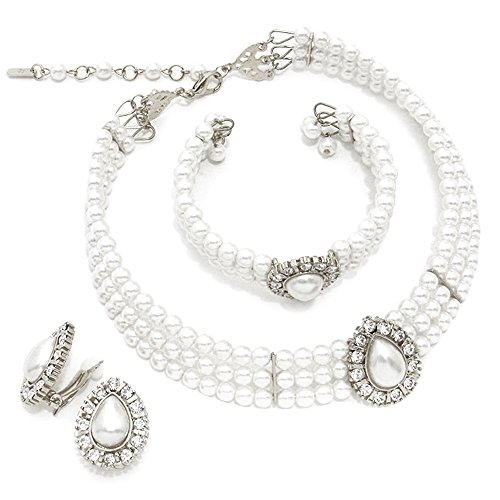 3 Rows Rhinestone Trimmed Simulated Pearl Choker Necklace, Bracelet, Clip on Earring 3 Set (White) -
