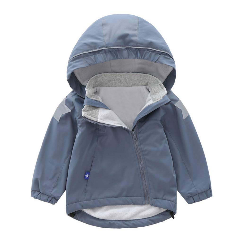 BFYOU Toddler Kid Baby Boy Cartoon Animal Hooded Coat Jacket Outwear Windproof Outfits Gray by BFYOU_ Girl Clothing