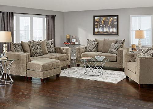 Amazon.com: THE ROOMPLACE Newcastle Platinum 3 Pc. Living Room With Sofa  Chaise   Loveseat: Kitchen U0026 Dining
