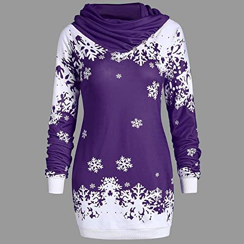Invierno Tumblr Jerséis Cuello Para Bufanda Suéter Sudaderas Navidad Camisetas Blusa youth K Nieve Morado Manga Largas De Mujer Larga Copo wqtnSU7