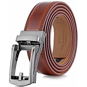 "Marino Men's Genuine Leather Ratchet Dress Belt with Open Linxx Buckle, Enclosed in an Elegant Gift Box - Burnt Umber - Style 37 - Custom: Up to 44"" Waist"