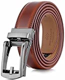 Marino Men's Genuine Leather Ratchet Dress Belt with Open Linxx Buckle, Enclosed in an Elegant Gift Box - Burnt Umber - Style 37 - Custom: Up to 44