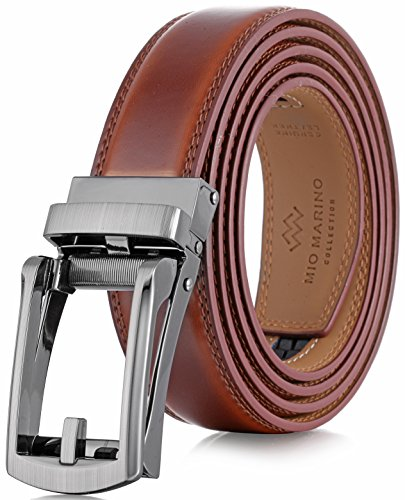 (Marino Men's Genuine Leather Ratchet Dress Belt with Open Linxx Buckle, Enclosed in an Elegant Gift Box - Burnt Umber - Style 37 - Custom: Up to 44