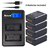 ARCHE NP-W126 NPW126s <4 Pack> Battery and LCD Dual USB Charger KIT for [Fujifilm FinePix HS30EXR, HS33EXR, HS50EXR, X100F X-A1 X-A3 X-A5 X-E1 X-E2 X-E2S X-M1 X-T1 X-T2 X-T10 X-T20 X-Pro1 X-Pro2]
