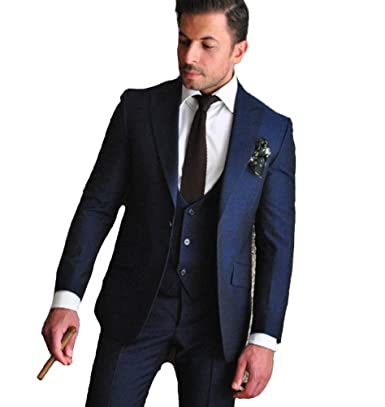 Wedding Attire For Men.Leader Of The Beauty Navy Blue Wedding Suits Men Suits Slim Fit 3