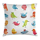 LIPCZXYZ Animal Throw Pillow Cushion Cover, Colorful Cute Birds Watercolor Effect Humor Funny Mascots Paint Brush Art Kids Design, Decorative Square Accent Pillow Case, 18 X 18 Inches, Multi