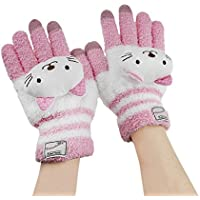 Bao Xin High Quality Woolen Touch Screen Winter Glove Super Warm Soft & Cute Perfect Gift For Kids (Pink Cat)