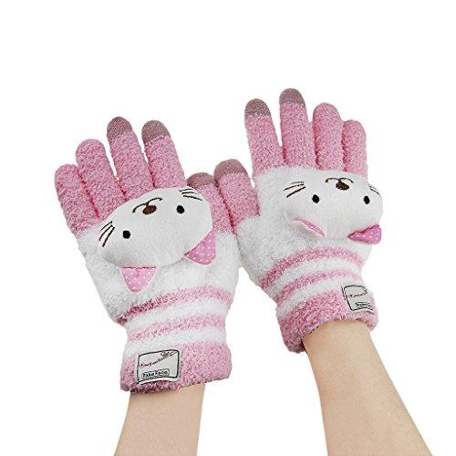 Bao Xin Woolen Touch Screen Winter Glove Super Warm Soft & Cute for Kids (Pink Cat)