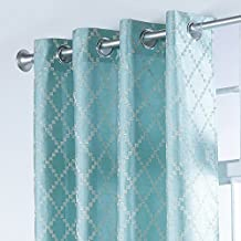 Stylemaster Home Products Broadway Embroidered Faux Silk Grommet Panel, 53 by 84-Inch, Teal