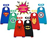 REVERSIBLE Superhero Cape & Mask set for children - 3 pack. Perfect for disney birthday party supplies, comic fancy dress costumes, creative fun, dressing up and pretend play gifts