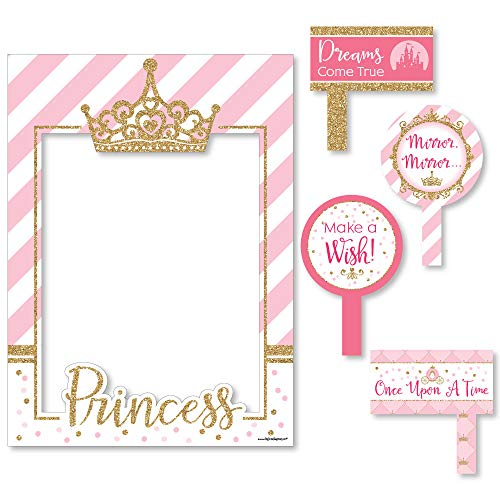 Big Dot of Happiness Little Princess Crown - Pink and Gold Princess Baby Shower or Birthday Party Selfie Photo Booth Picture Frame & Props - Printed on Sturdy Material