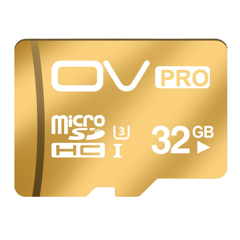 OV (Pro 32GB, Gold) U3 Super Speed Micro SDHC TF CARD UHS-3 Write Speed up to 40MB/s Read Speed up to 80MB/s High Performance Flash Memory SAMSUNG FLASH 100% TESTED US
