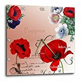 3dRose DPP_79337_1 Vintage Pretty Poppies French Botanical Art-Wall Clock, 10 by 10-Inch